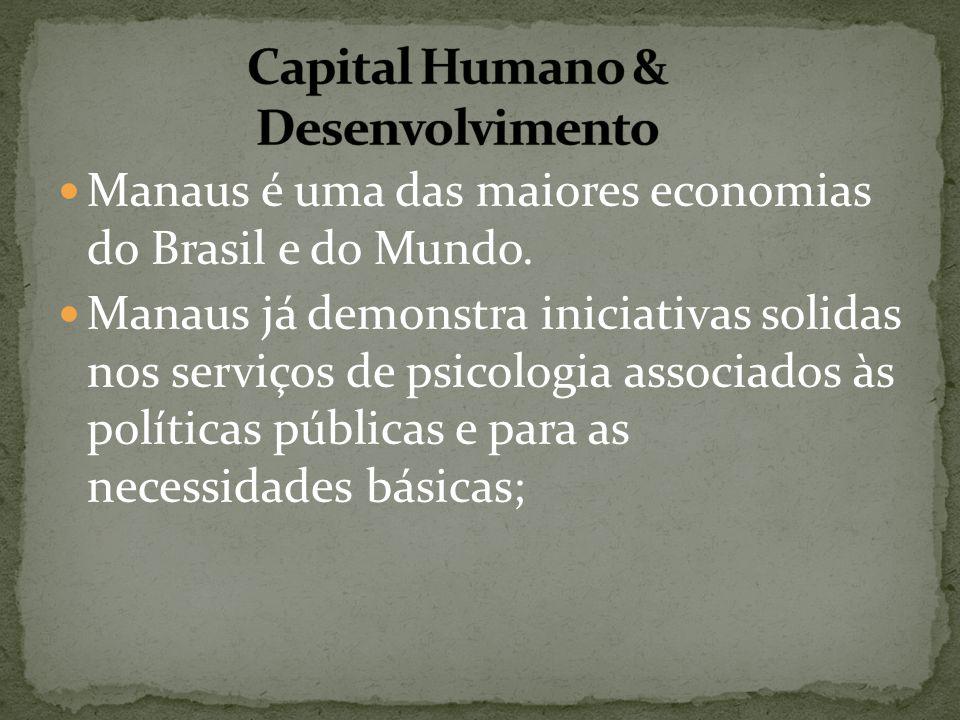 Manaus é uma das maiores economias do Brasil e do Mundo. Manaus já demonstra iniciativas solidas nos serviços de psicologia associados às políticas pú