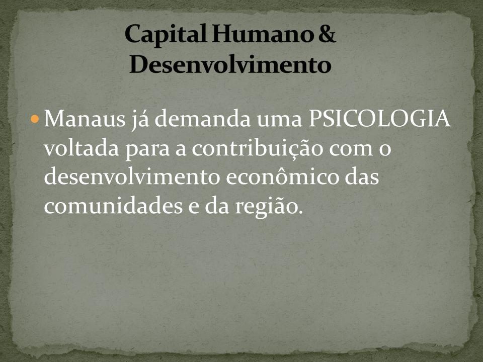Manaus já demanda uma PSICOLOGIA voltada para a contribuição com o desenvolvimento econômico das comunidades e da região.