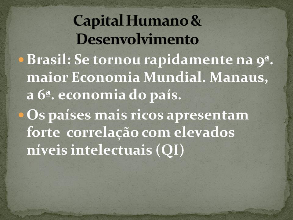 Brasil: Se tornou rapidamente na 9ª. maior Economia Mundial. Manaus, a 6ª. economia do país. Os países mais ricos apresentam forte correlação com elev
