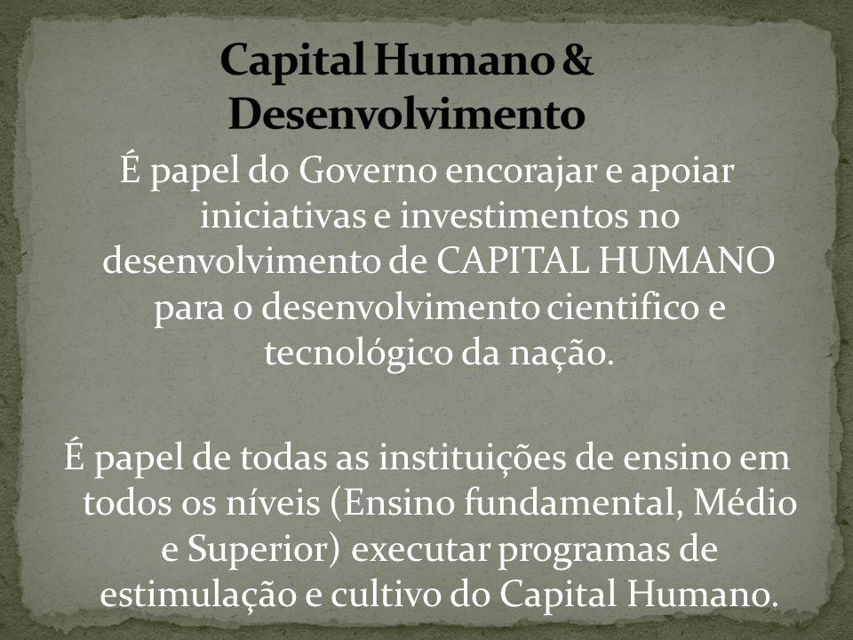 É papel do Governo encorajar e apoiar iniciativas e investimentos no desenvolvimento de CAPITAL HUMANO para o desenvolvimento cientifico e tecnológico