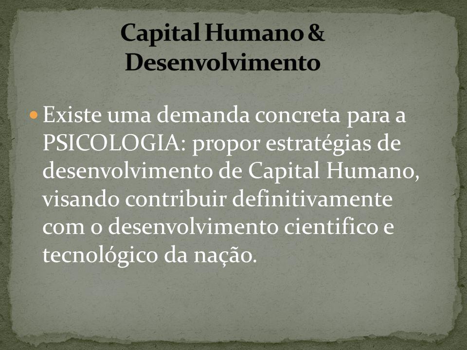 Existe uma demanda concreta para a PSICOLOGIA: propor estratégias de desenvolvimento de Capital Humano, visando contribuir definitivamente com o desen
