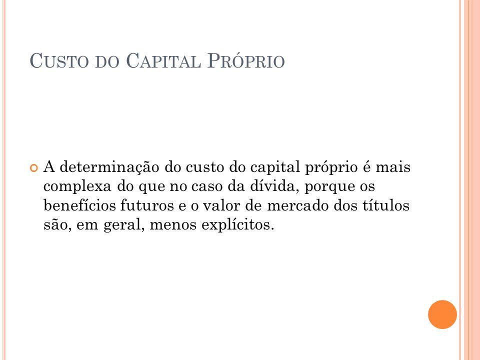 C USTO DO C APITAL P RÓPRIO A determinação do custo do capital próprio é mais complexa do que no caso da dívida, porque os benefícios futuros e o valo