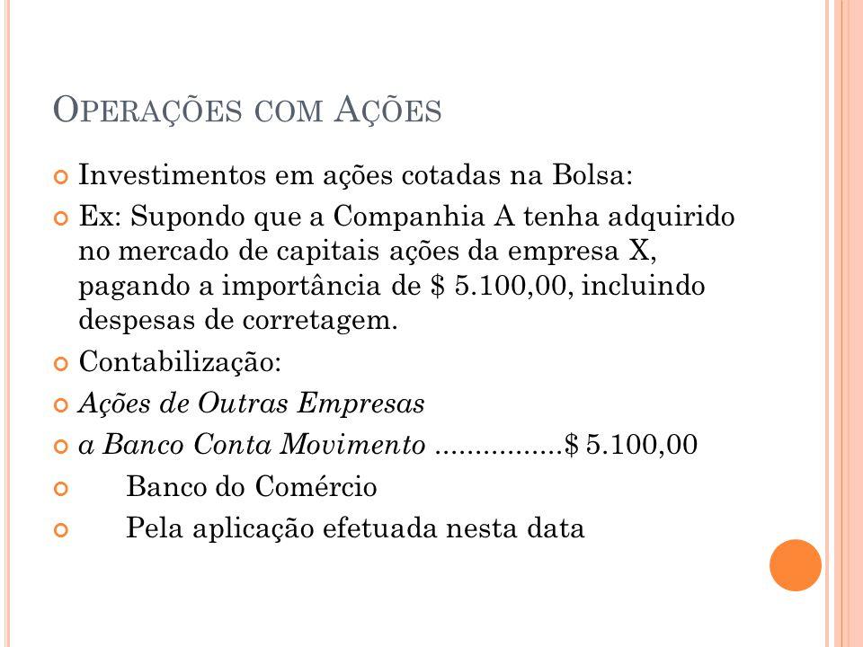 O PERAÇÕES COM A ÇÕES Investimentos em ações cotadas na Bolsa: Ex: Supondo que a Companhia A tenha adquirido no mercado de capitais ações da empresa X