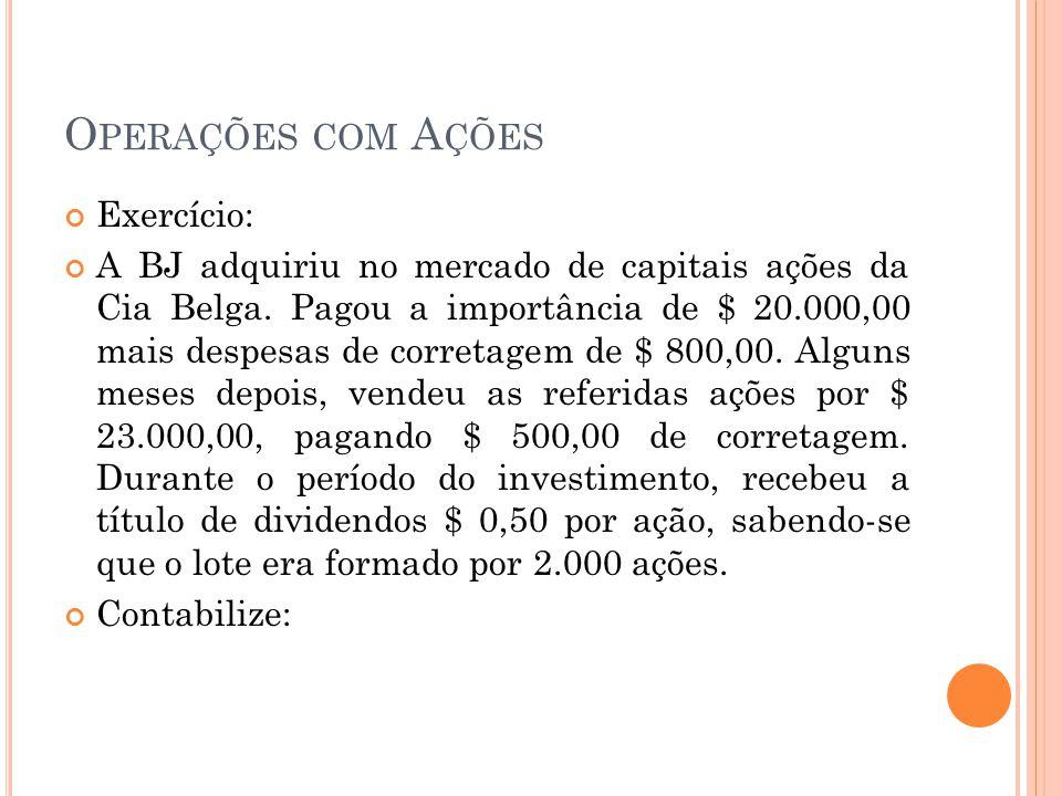 O PERAÇÕES COM A ÇÕES Exercício: A BJ adquiriu no mercado de capitais ações da Cia Belga. Pagou a importância de $ 20.000,00 mais despesas de corretag