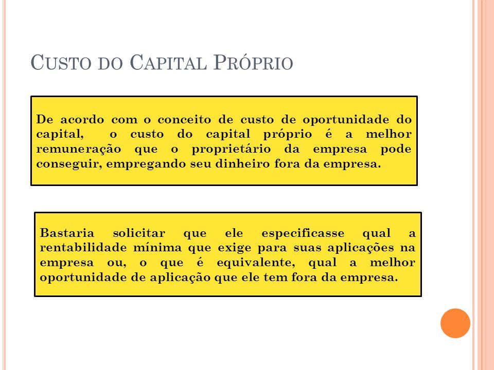 C USTO DO C APITAL P RÓPRIO De acordo com o conceito de custo de oportunidade do capital, o custo do capital próprio é a melhor remuneração que o prop