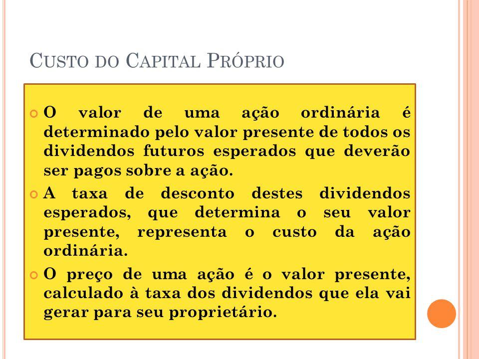 C USTO DO C APITAL P RÓPRIO O valor de uma ação ordinária é determinado pelo valor presente de todos os dividendos futuros esperados que deverão ser p