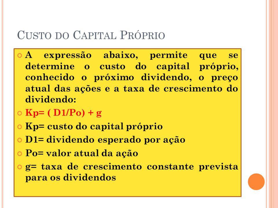 C USTO DO C APITAL P RÓPRIO A expressão abaixo, permite que se determine o custo do capital próprio, conhecido o próximo dividendo, o preço atual das