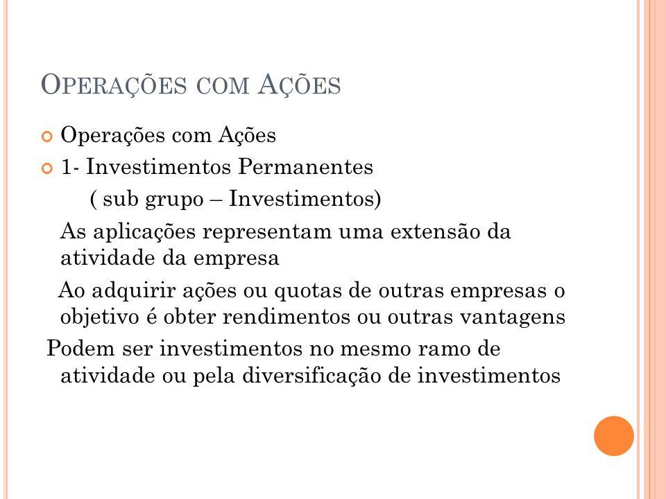 O PERAÇÕES COM A ÇÕES Operações com Ações 1- Investimentos Permanentes ( sub grupo – Investimentos) As aplicações representam uma extensão da atividad