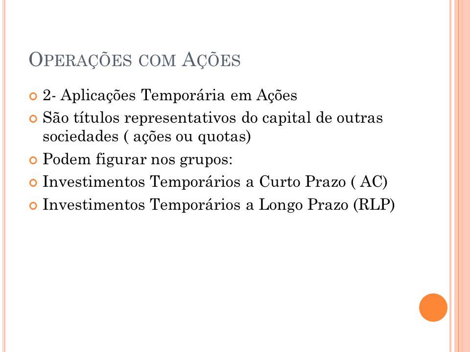 O PERAÇÕES COM A ÇÕES 2- Aplicações Temporária em Ações São títulos representativos do capital de outras sociedades ( ações ou quotas) Podem figurar n