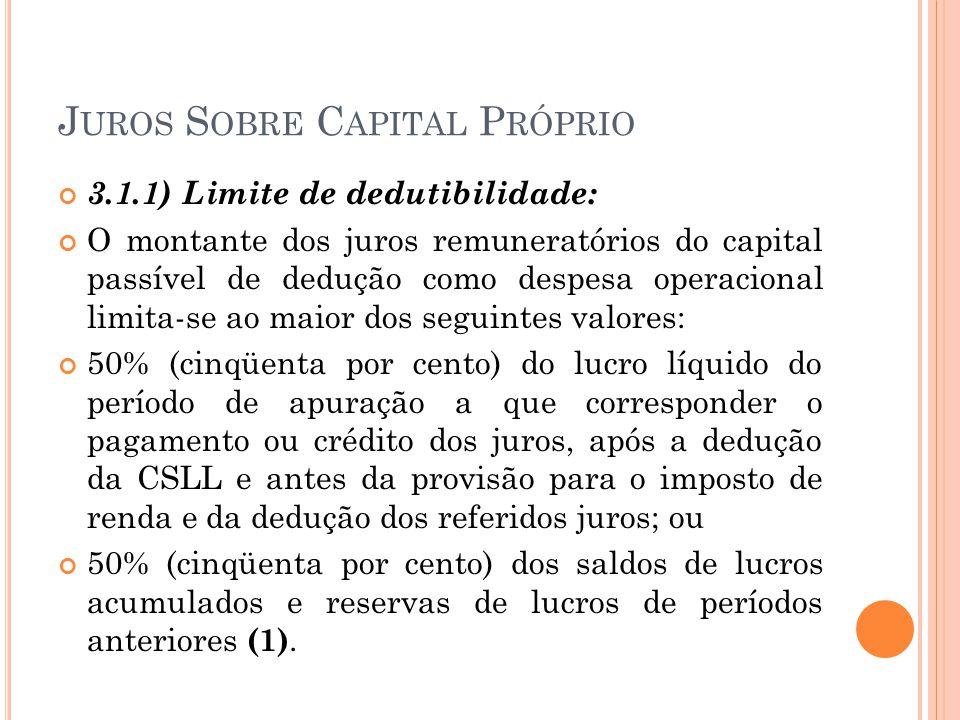J UROS S OBRE C APITAL P RÓPRIO 3.1.1) Limite de dedutibilidade: O montante dos juros remuneratórios do capital passível de dedução como despesa opera