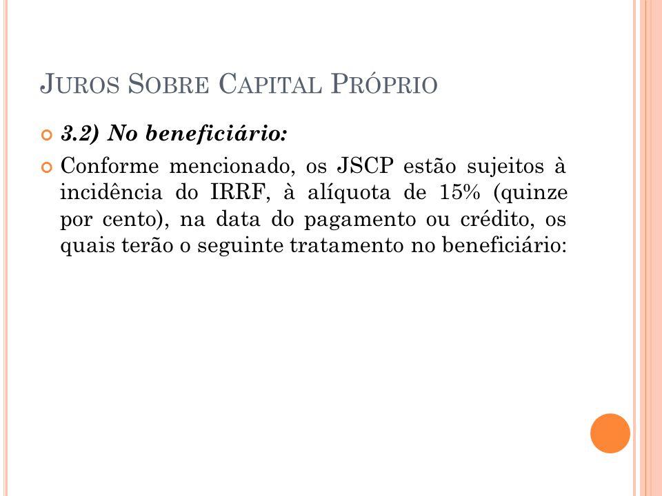 J UROS S OBRE C APITAL P RÓPRIO 3.2) No beneficiário: Conforme mencionado, os JSCP estão sujeitos à incidência do IRRF, à alíquota de 15% (quinze por