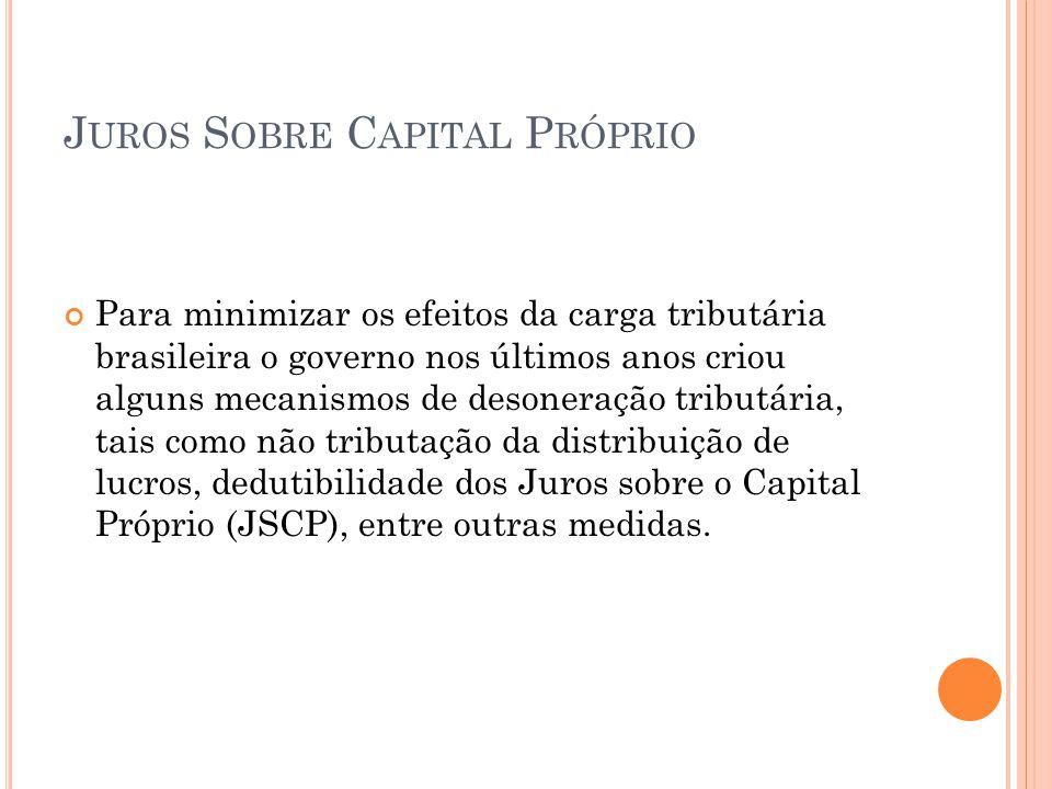 J UROS S OBRE C APITAL P RÓPRIO Remuneração de capitais próprios - valores relativos à remuneração atribuída aos sócios e acionistas.