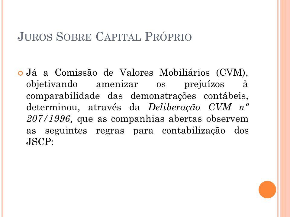 J UROS S OBRE C APITAL P RÓPRIO Já a Comissão de Valores Mobiliários (CVM), objetivando amenizar os prejuízos à comparabilidade das demonstrações cont