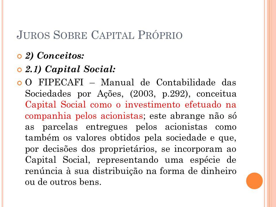 J UROS S OBRE C APITAL P RÓPRIO 2) Conceitos: 2.1) Capital Social: O FIPECAFI – Manual de Contabilidade das Sociedades por Ações, (2003, p.292), conce
