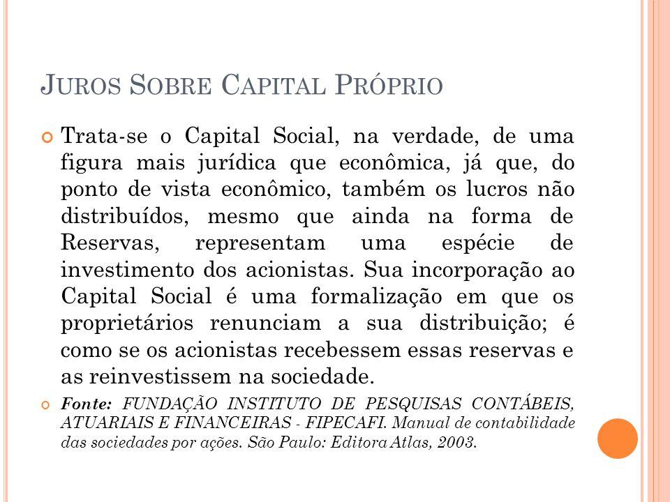 J UROS S OBRE C APITAL P RÓPRIO 2.2) Juros sobre capital próprio (JSCP): O JSCP é uma das formas de se distribuir o lucro entre os acionistas, titulares ou sócios de uma empresa, a outra é sob a forma de dividendos.