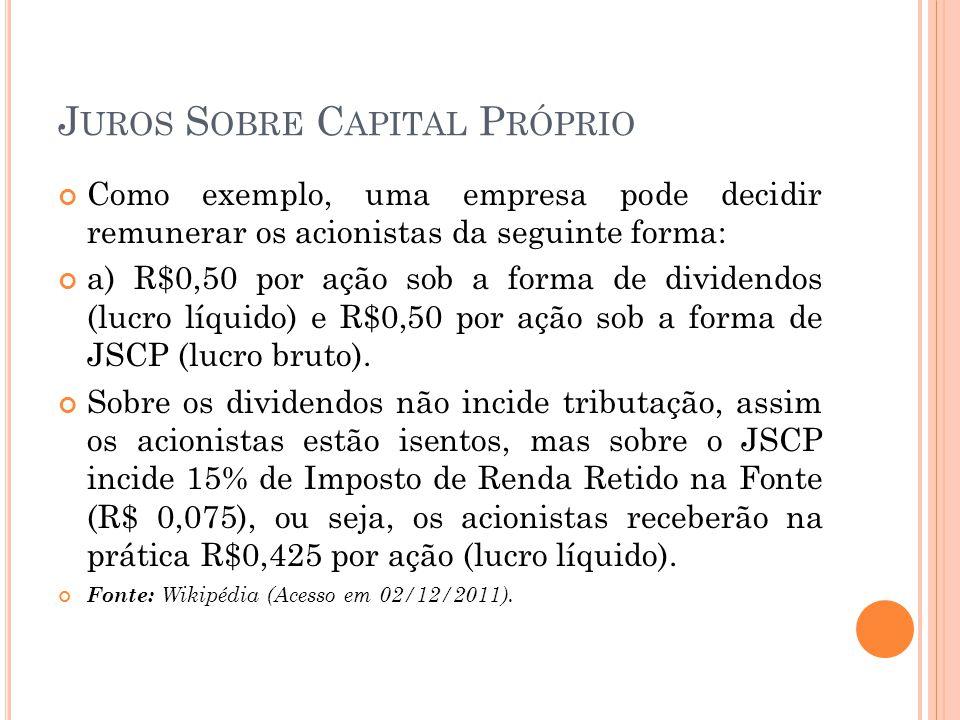 J UROS S OBRE C APITAL P RÓPRIO Como exemplo, uma empresa pode decidir remunerar os acionistas da seguinte forma: a) R$0,50 por ação sob a forma de di
