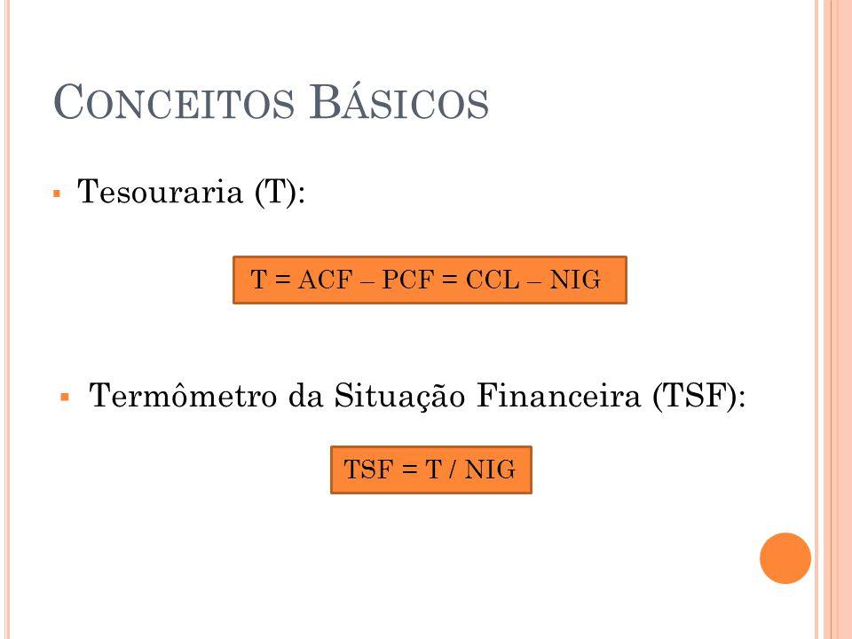 C ONCEITOS B ÁSICOS  Tesouraria (T): T = ACF – PCF = CCL – NIG  Termômetro da Situação Financeira (TSF): TSF = T / NIG 20