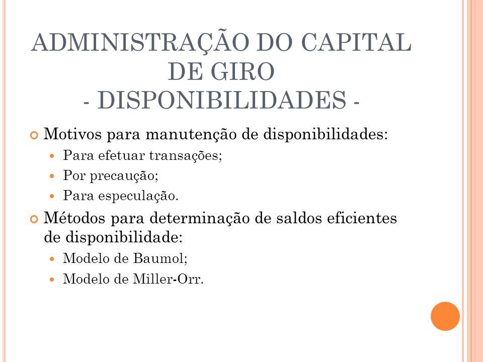 ADMINISTRAÇÃO DO CAPITAL DE GIRO - DISPONIBILIDADES - Motivos para manutenção de disponibilidades: Para efetuar transações; Por precaução; Para especu
