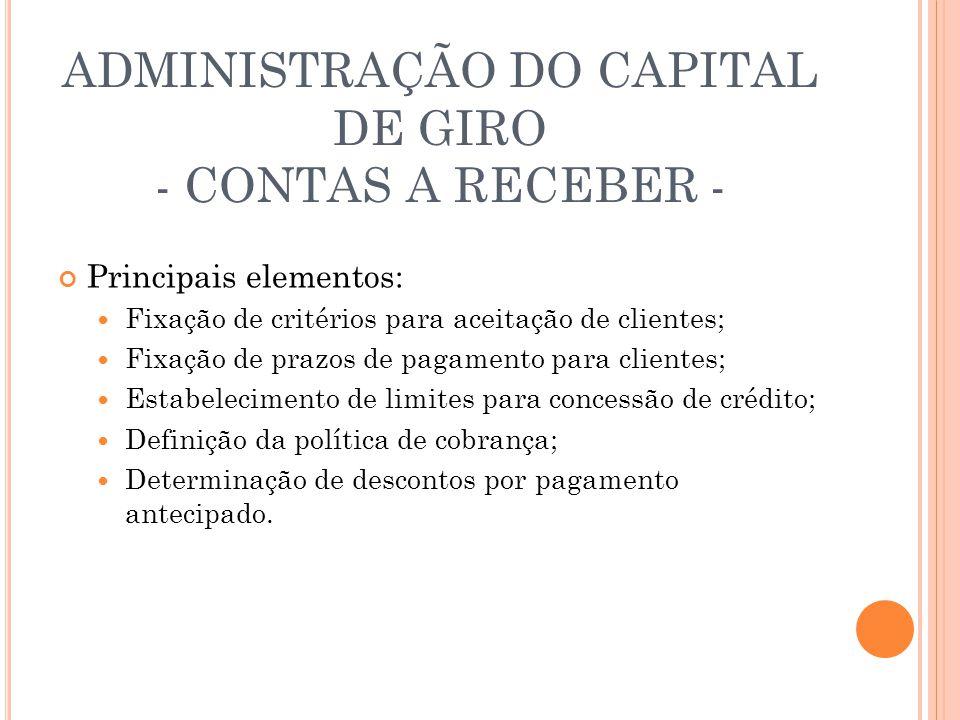 ADMINISTRAÇÃO DO CAPITAL DE GIRO - CONTAS A RECEBER - Principais elementos: Fixação de critérios para aceitação de clientes; Fixação de prazos de paga