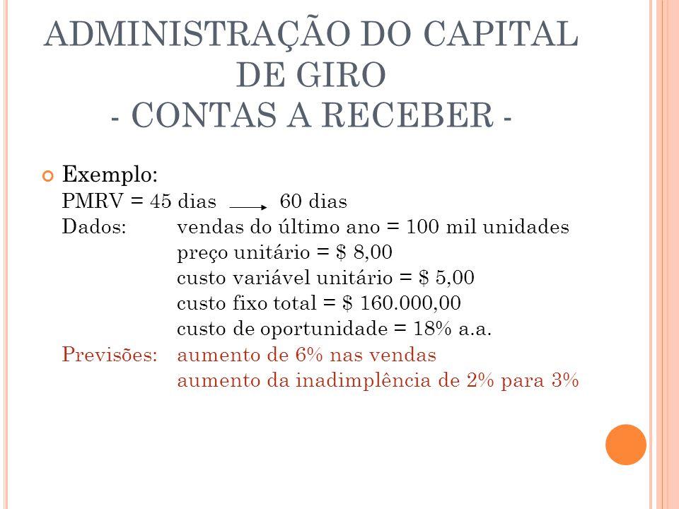 ADMINISTRAÇÃO DO CAPITAL DE GIRO - CONTAS A RECEBER - Exemplo: PMRV = 45 dias 60 dias Dados:vendas do último ano = 100 mil unidades preço unitário = $