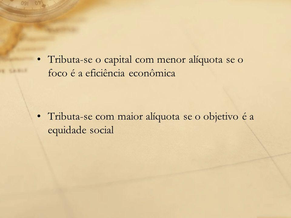 Tributa-se o capital com menor alíquota se o foco é a eficiência econômica Tributa-se com maior alíquota se o objetivo é a equidade social