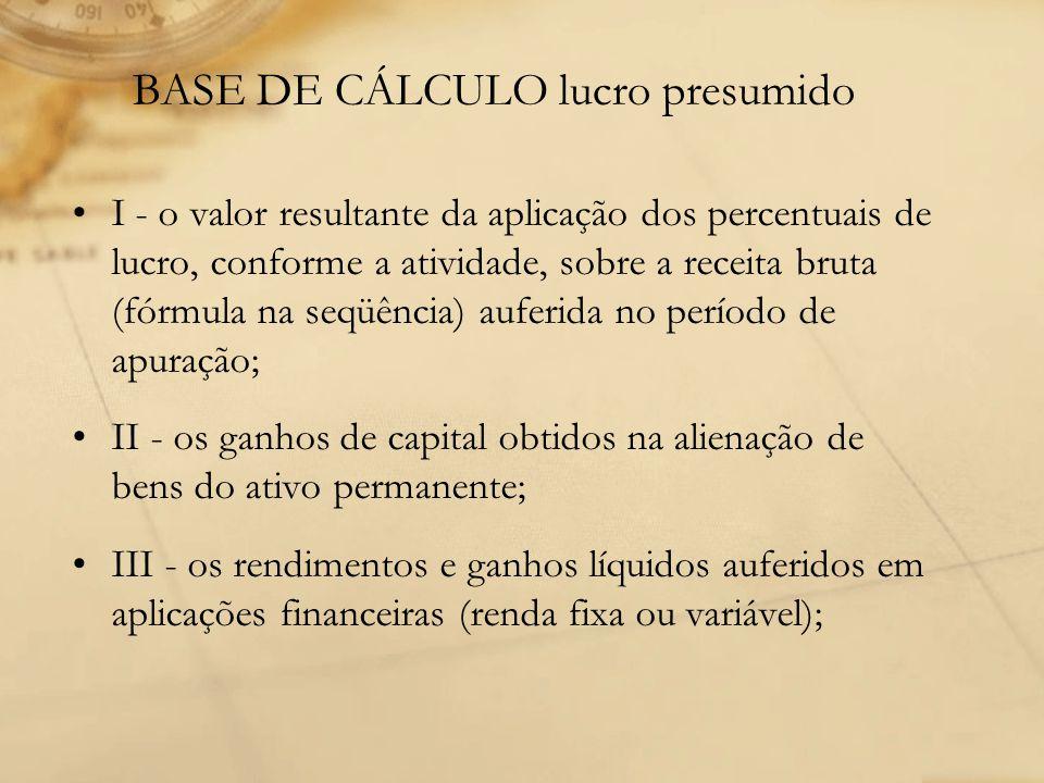 BASE DE CÁLCULO lucro presumido I - o valor resultante da aplicação dos percentuais de lucro, conforme a atividade, sobre a receita bruta (fórmula na