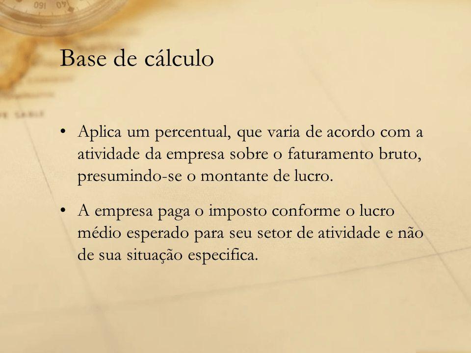 Base de cálculo Aplica um percentual, que varia de acordo com a atividade da empresa sobre o faturamento bruto, presumindo-se o montante de lucro. A e