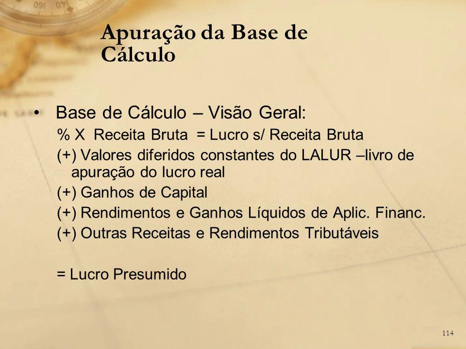 114 Base de Cálculo – Visão Geral: % X Receita Bruta = Lucro s/ Receita Bruta (+) Valores diferidos constantes do LALUR –livro de apuração do lucro re