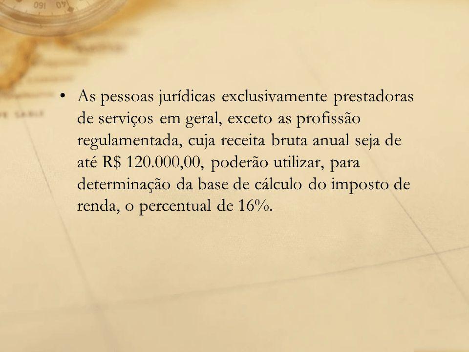 As pessoas jurídicas exclusivamente prestadoras de serviços em geral, exceto as profissão regulamentada, cuja receita bruta anual seja de até R$ 120.0