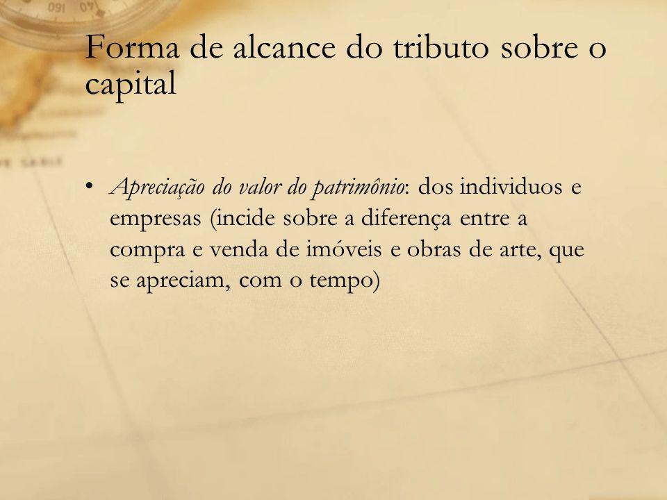 Forma de alcance do tributo sobre o capital Apreciação do valor do patrimônio: dos individuos e empresas (incide sobre a diferença entre a compra e ve