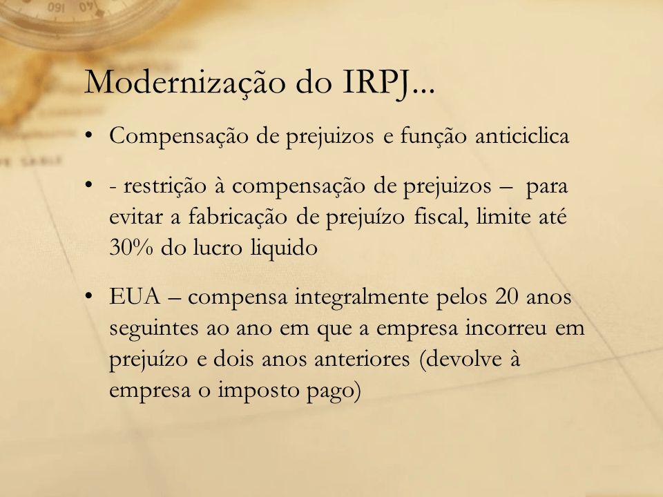 Modernização do IRPJ... Compensação de prejuizos e função anticiclica - restrição à compensação de prejuizos – para evitar a fabricação de prejuízo fi