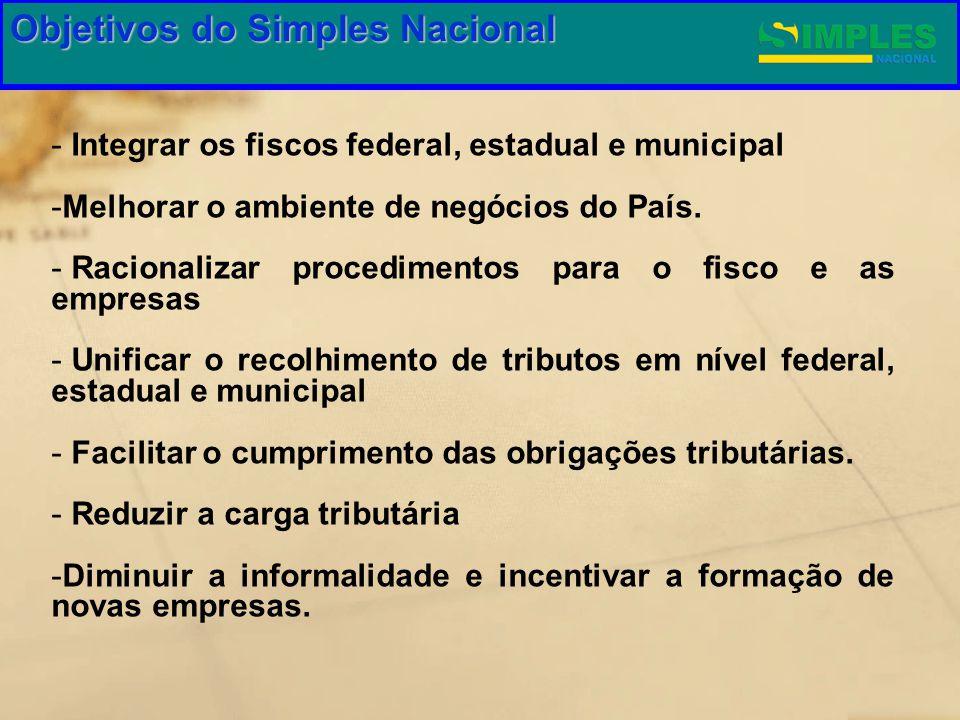 Gestão do Simples Nacional - Integrar os fiscos federal, estadual e municipal -Melhorar o ambiente de negócios do País. - Racionalizar procedimentos p