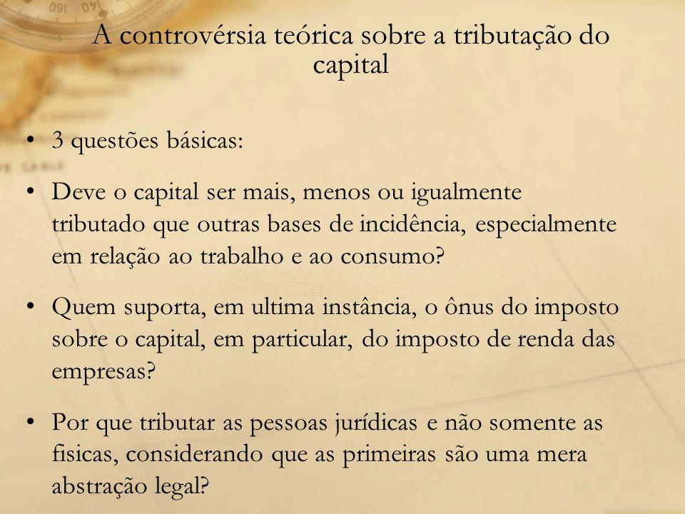 A controvérsia teórica sobre a tributação do capital 3 questões básicas: Deve o capital ser mais, menos ou igualmente tributado que outras bases de in