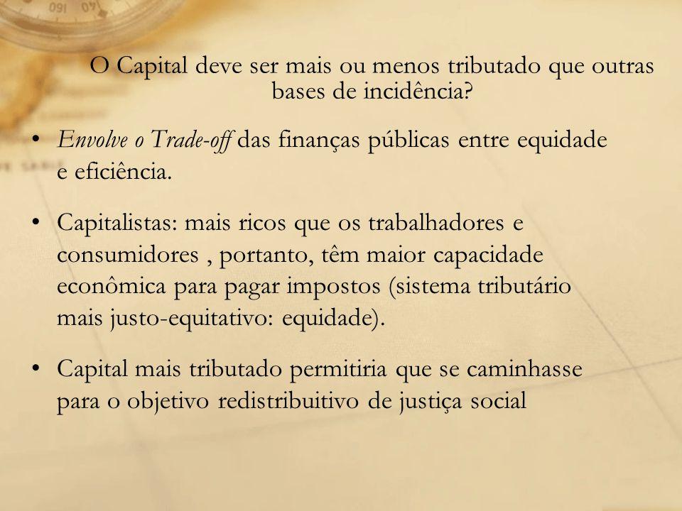 O Capital deve ser mais ou menos tributado que outras bases de incidência? Envolve o Trade-off das finanças públicas entre equidade e eficiência. Capi