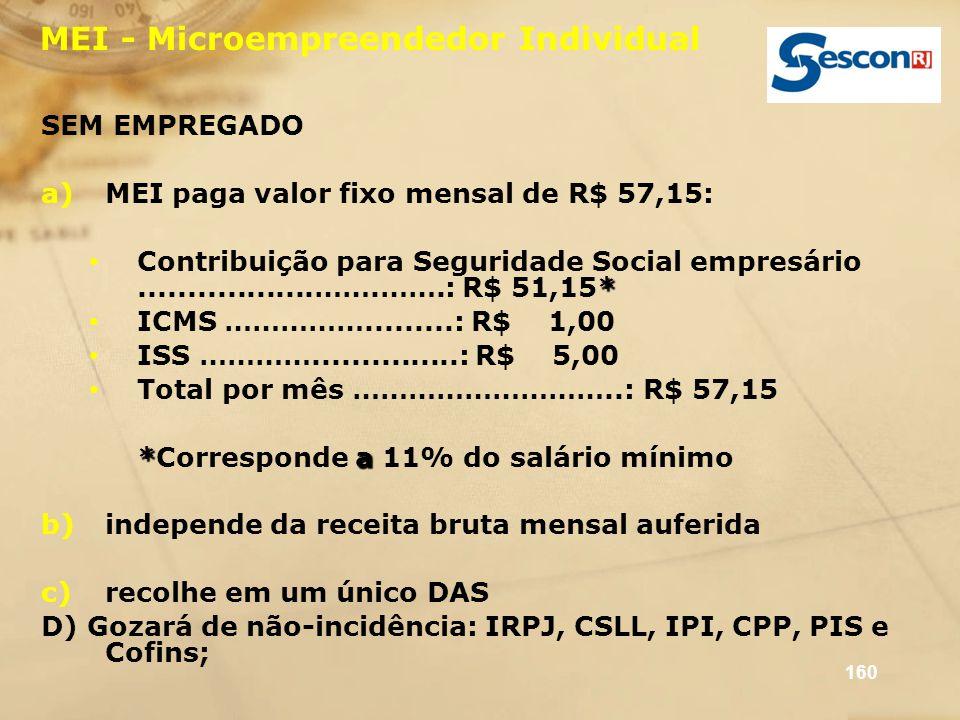 160 MEI - Microempreendedor Individual SEM EMPREGADO a)MEI paga valor fixo mensal de R$ 57,15: * Contribuição para Seguridade Social empresário.......