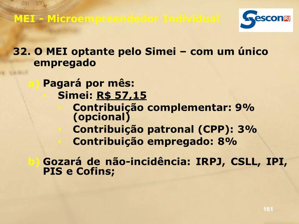 161 MEI - Microempreendedor Individual 32. O MEI optante pelo Simei – com um único empregado a)Pagará por mês: Simei: R$ 57,15 Contribuição complement