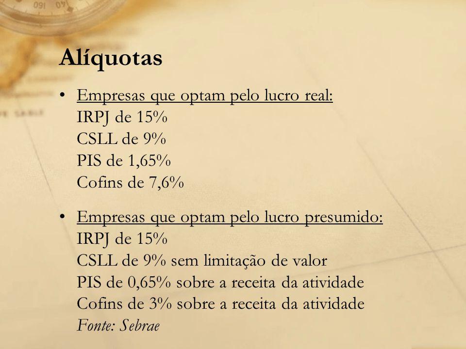 Alíquotas Empresas que optam pelo lucro real: IRPJ de 15% CSLL de 9% PIS de 1,65% Cofins de 7,6% Empresas que optam pelo lucro presumido: IRPJ de 15%