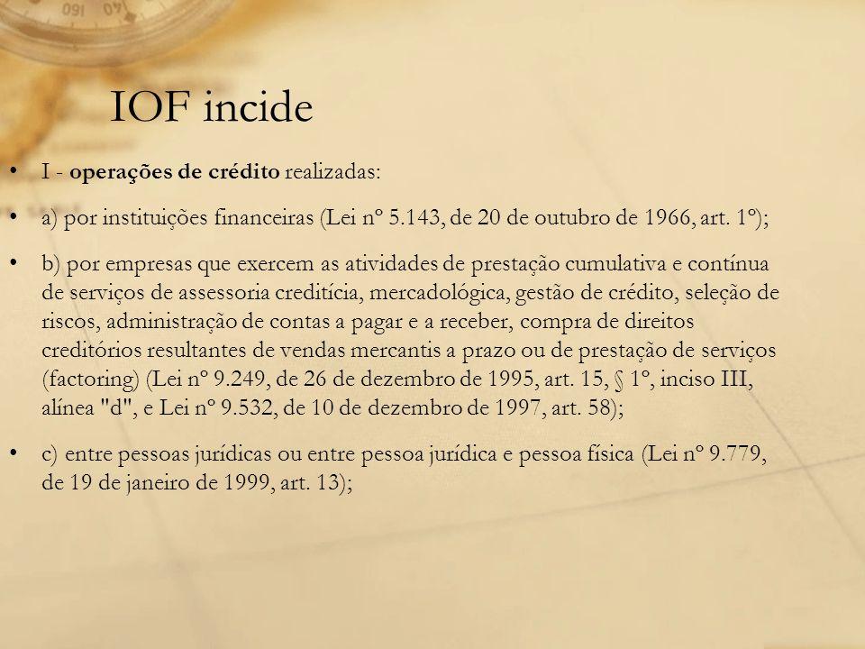 IOF incide I - operações de crédito realizadas: a) por instituições financeiras (Lei nº 5.143, de 20 de outubro de 1966, art. 1º); b) por empresas que