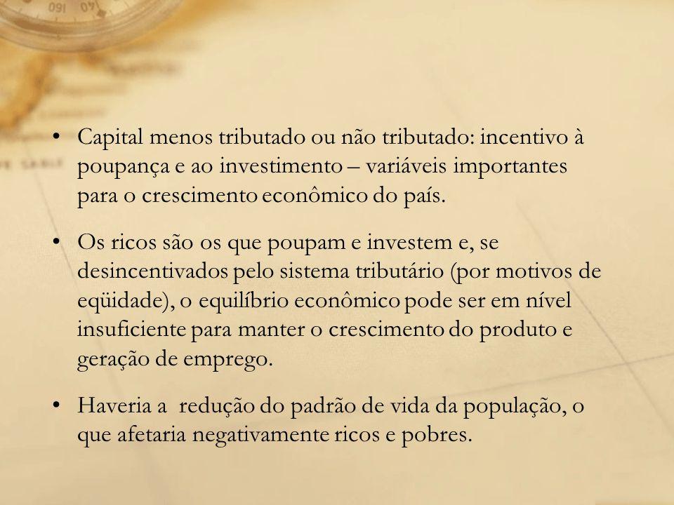 Capital menos tributado ou não tributado: incentivo à poupança e ao investimento – variáveis importantes para o crescimento econômico do país. Os rico