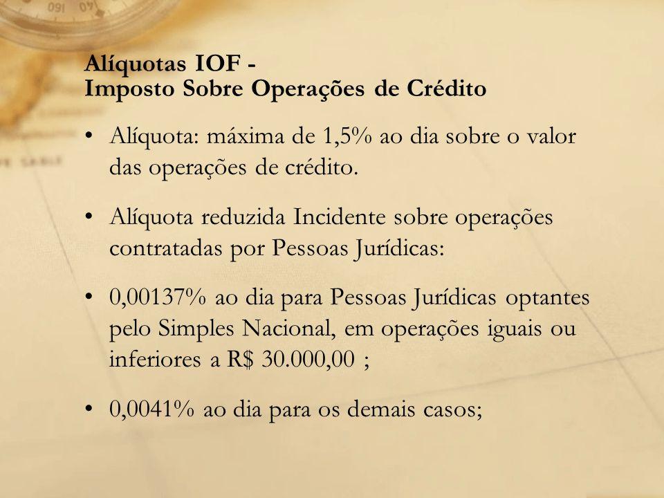 Alíquotas IOF - Imposto Sobre Operações de Crédito Alíquota: máxima de 1,5% ao dia sobre o valor das operações de crédito. Alíquota reduzida Incidente