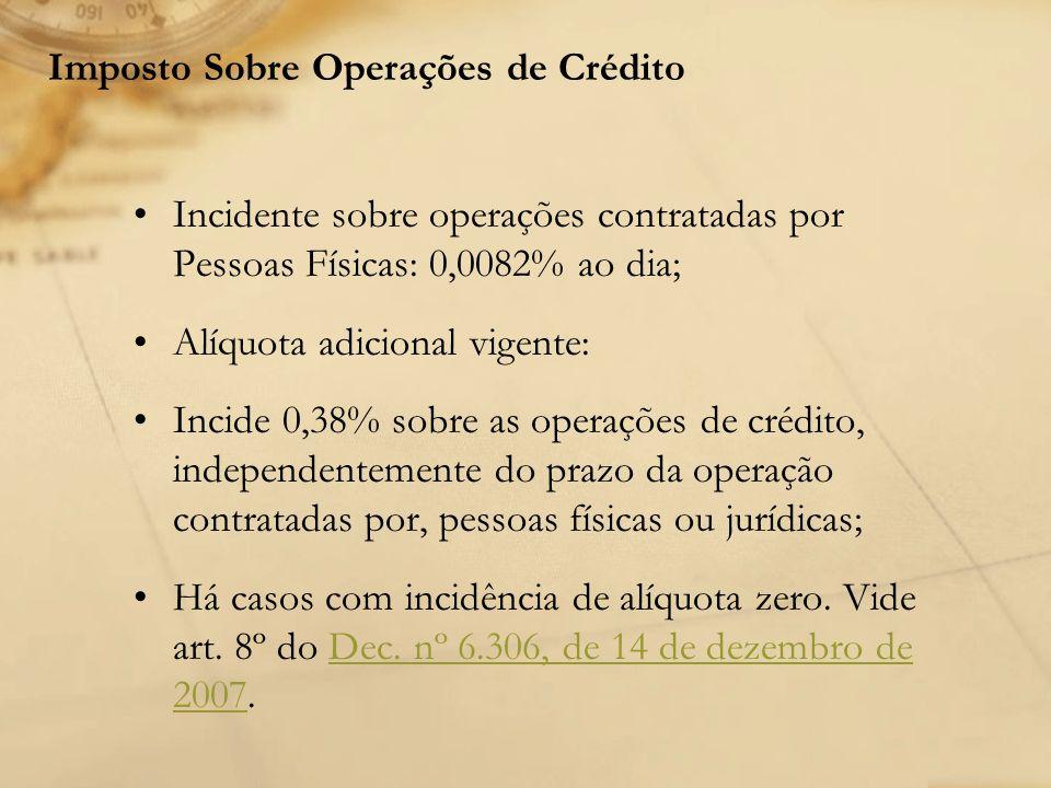 Imposto Sobre Operações de Crédito Incidente sobre operações contratadas por Pessoas Físicas: 0,0082% ao dia; Alíquota adicional vigente: Incide 0,38%