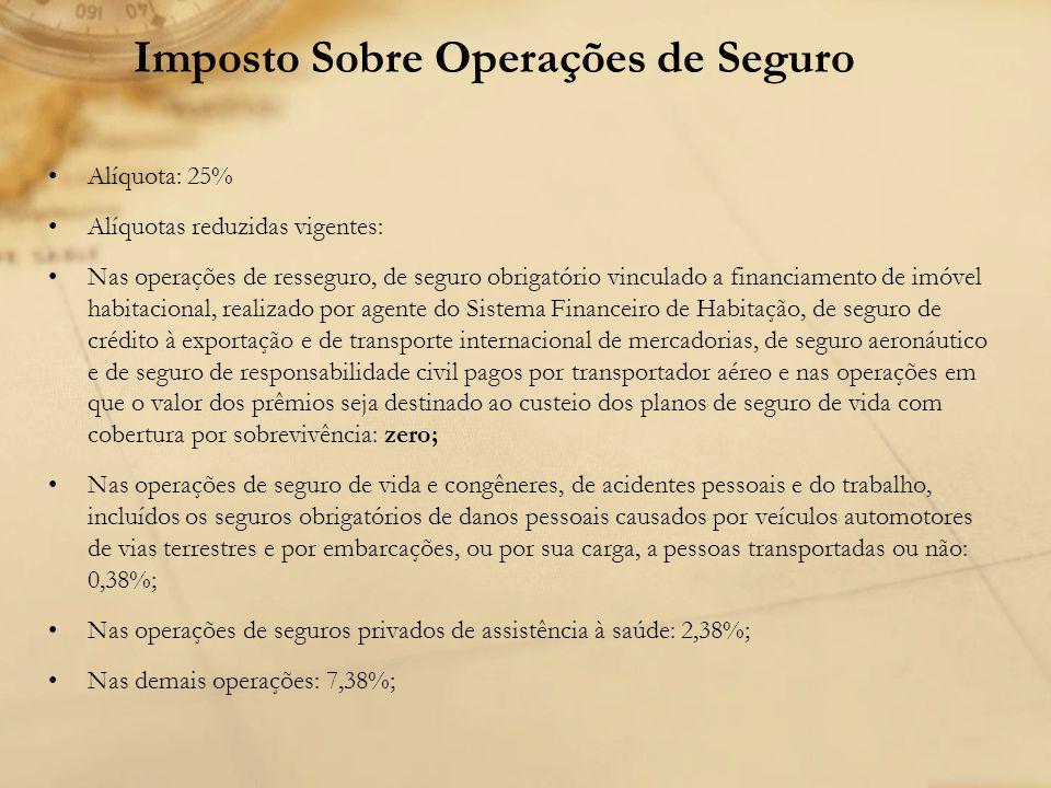 Imposto Sobre Operações de Seguro Alíquota: 25% Alíquotas reduzidas vigentes: Nas operações de resseguro, de seguro obrigatório vinculado a financiame