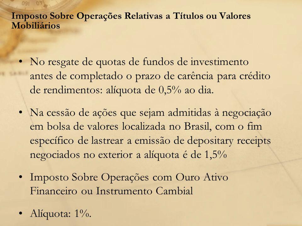 Imposto Sobre Operações Relativas a Títulos ou Valores Mobiliários No resgate de quotas de fundos de investimento antes de completado o prazo de carên