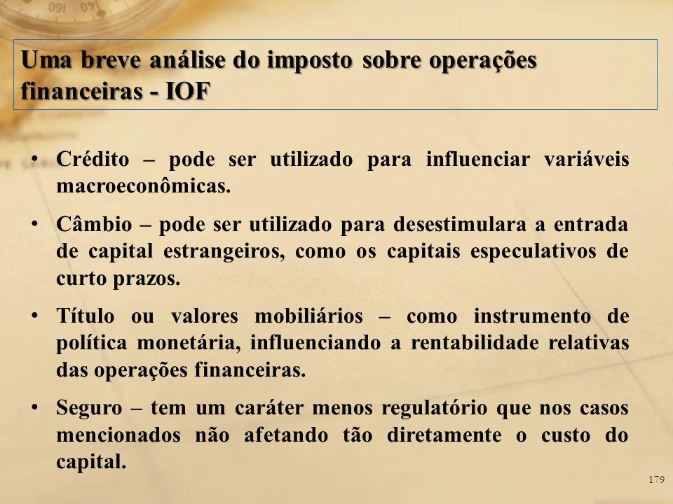 Uma breve análise do imposto sobre operações financeiras - IOF Crédito – pode ser utilizado para influenciar variáveis macroeconômicas. Câmbio – pode