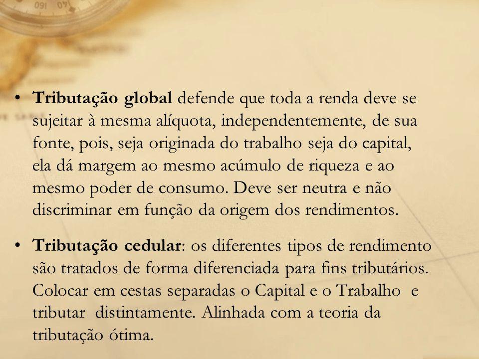 Tributação global defende que toda a renda deve se sujeitar à mesma alíquota, independentemente, de sua fonte, pois, seja originada do trabalho seja d
