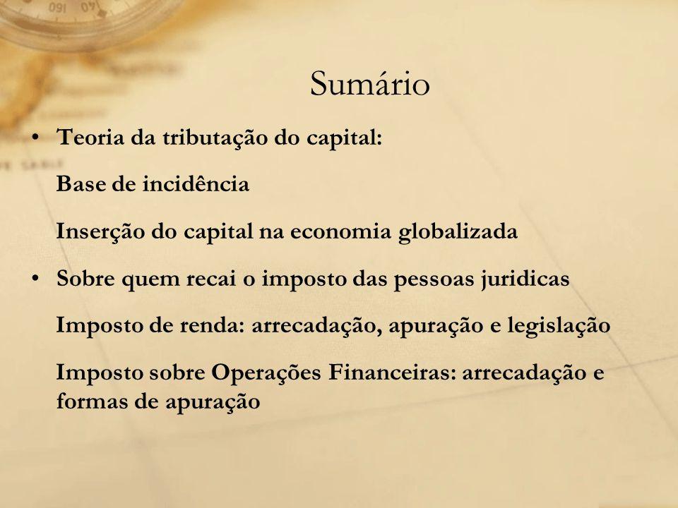 Teoria da tributação do capital: Base de incidência Inserção do capital na economia globalizada Sobre quem recai o imposto das pessoas juridicas Impos
