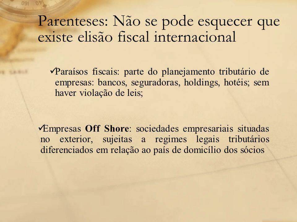 Parenteses: Não se pode esquecer que existe elisão fiscal internacional Paraísos fiscais: parte do planejamento tributário de empresas: bancos, segura