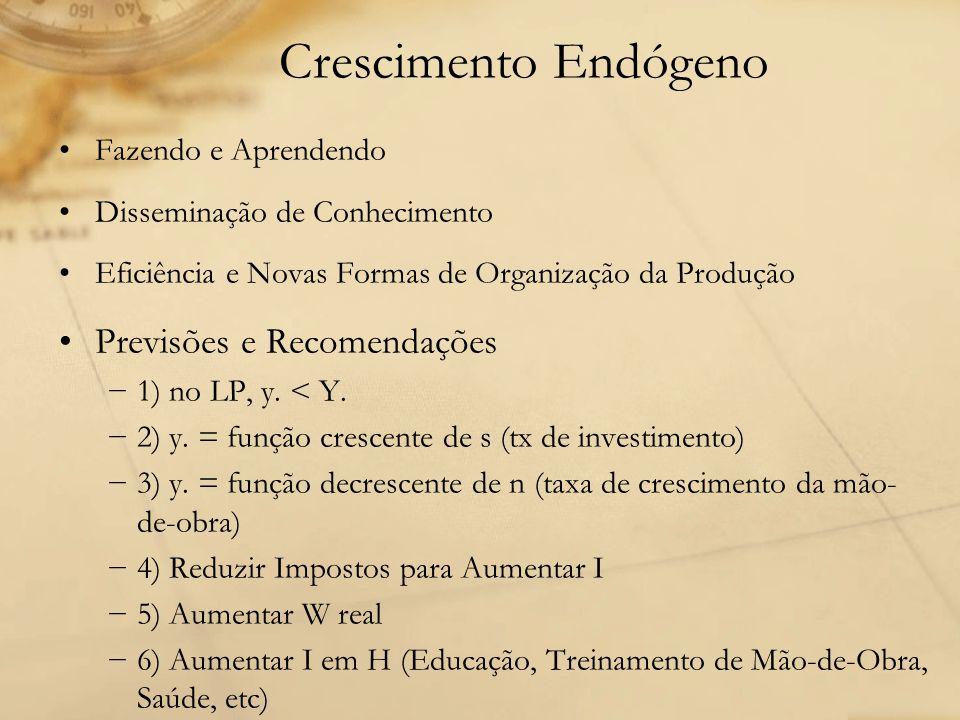 Crescimento Endógeno Fazendo e Aprendendo Disseminação de Conhecimento Eficiência e Novas Formas de Organização da Produção Previsões e Recomendações