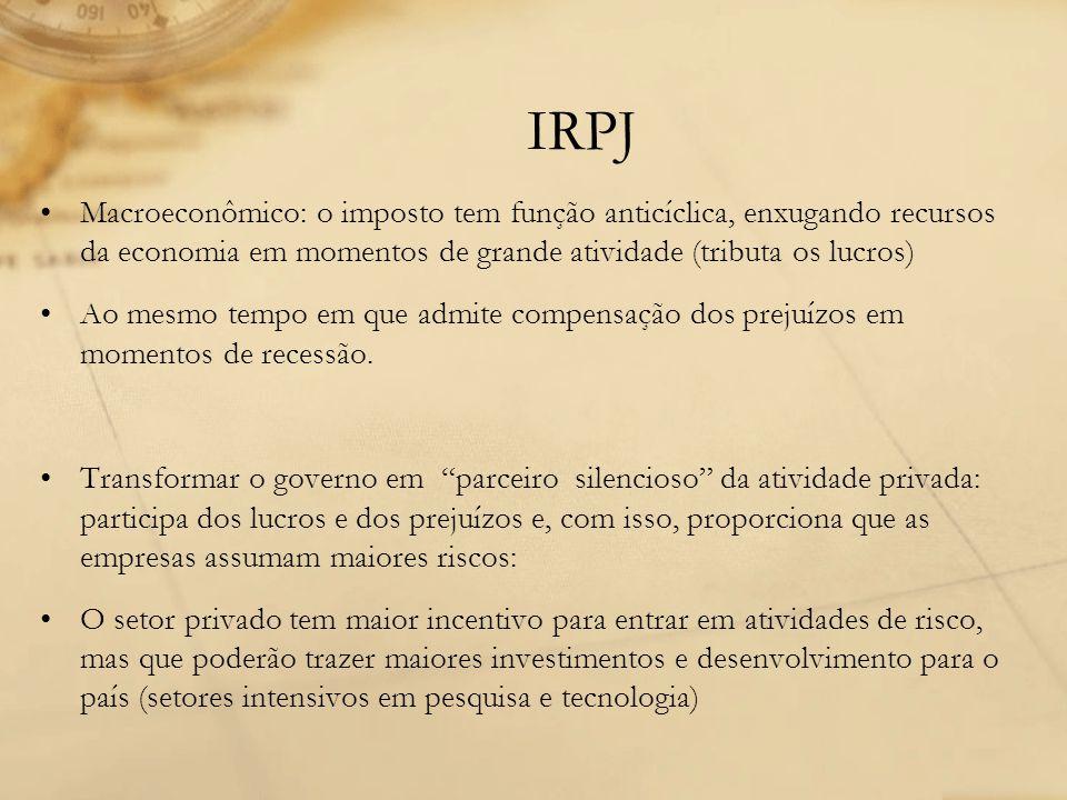 IRPJ Macroeconômico: o imposto tem função anticíclica, enxugando recursos da economia em momentos de grande atividade (tributa os lucros) Ao mesmo tem