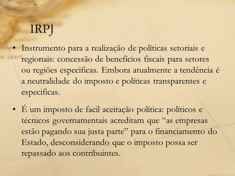 IRPJ Instrumento para a realização de políticas setoriais e regionais: concessão de benefícios fiscais para setores ou regiões especificas. Embora atu